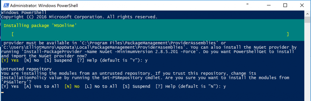 Accept Terms and InstallAzure Active Directory PowerShell Module