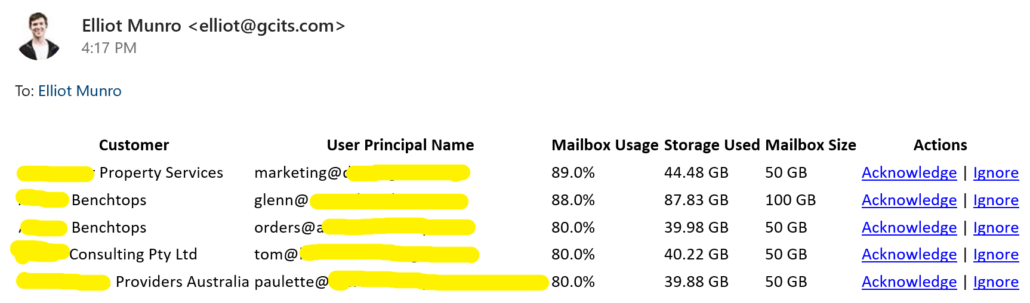 Acknowledge Ignore Mailbox Usage Size Report