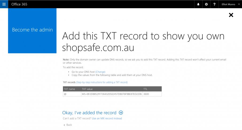 Add Office 365 txt record