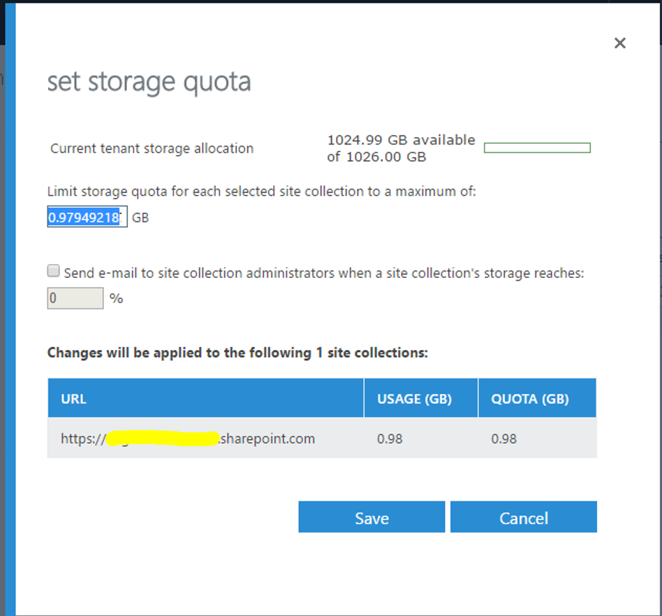 Change Storage Quota On SharePoint Online