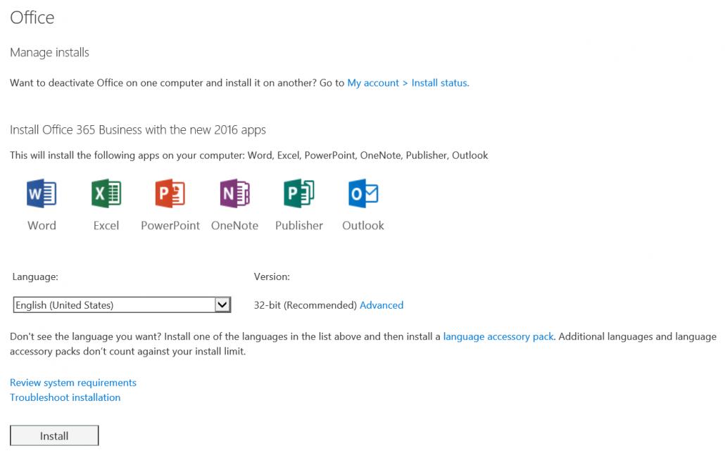Click Install Under Office 365 Software