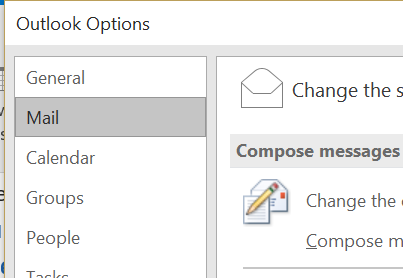 Click Mail In Options In Outlook