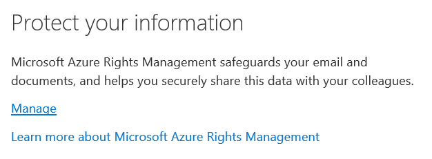 Click Manage To Enable Information Rights Management