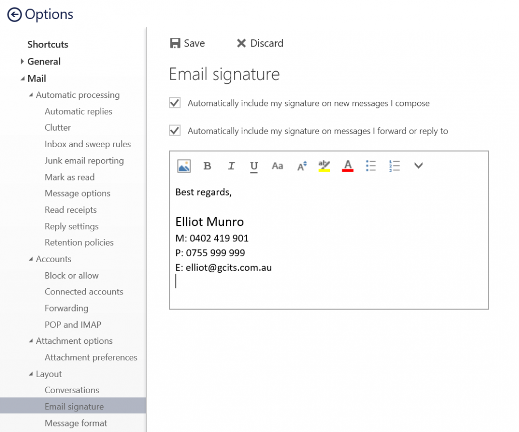 How to set up a signature in office 365 39 s outlook web app gcits - Email settings for office 365 ...