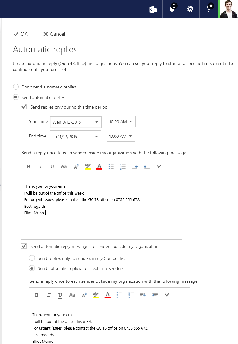Configure Automatic Replies Outlook Web App