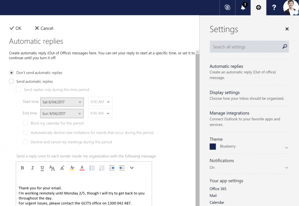 Configure the automatic reply on the shared mailbox in Office 365 Outlook Web App