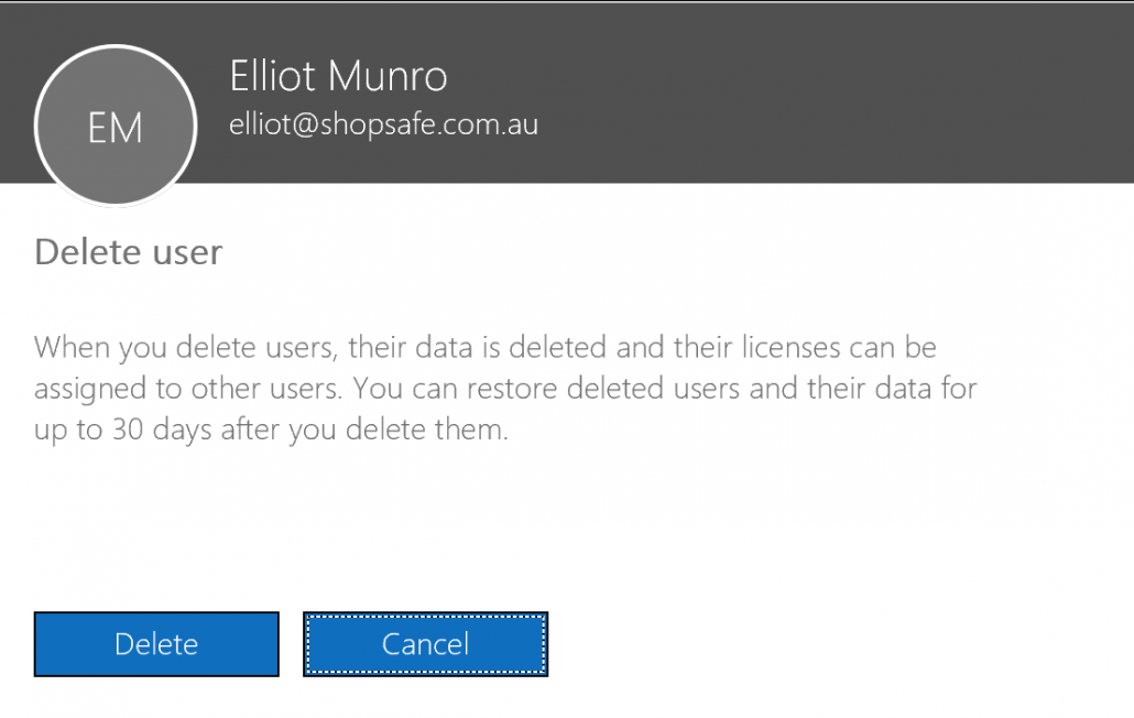 Confirm deletion of user