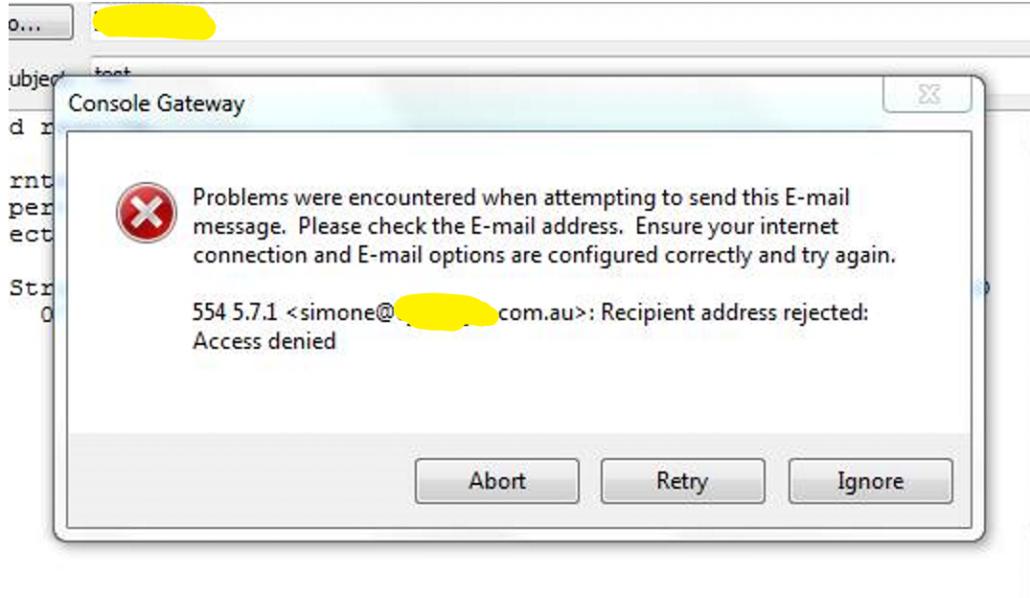 Console Gateway Email Error