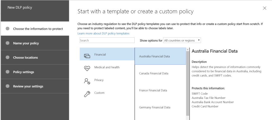 Office 365 DLP Policy Australia Financial Data
