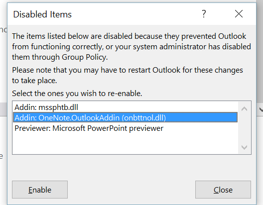 Enable Disabled OneNote Addin