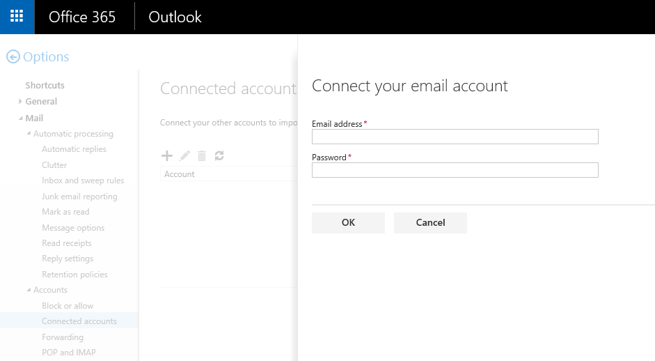 Enter Connected account username and password