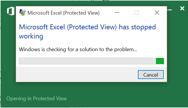 Excel Protected View Has Stopped Working