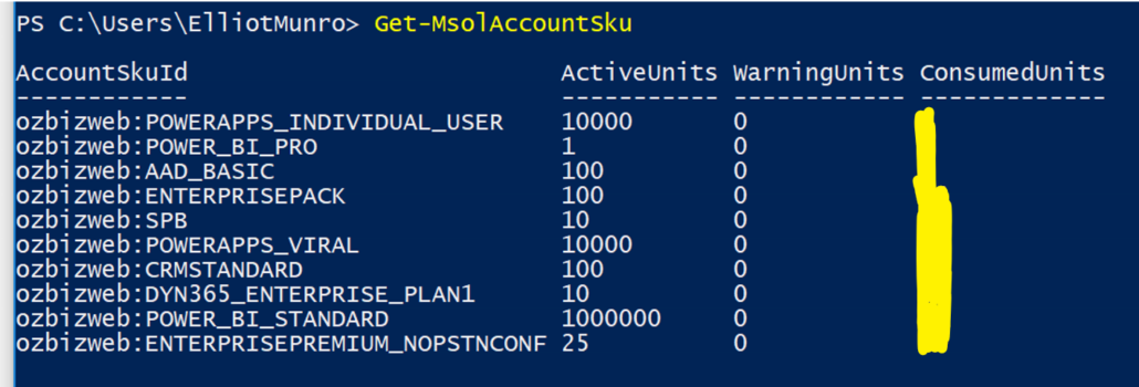 Get-MsolAccountSku Information