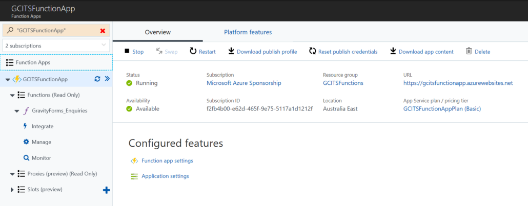 Open Function App In Azure Portal