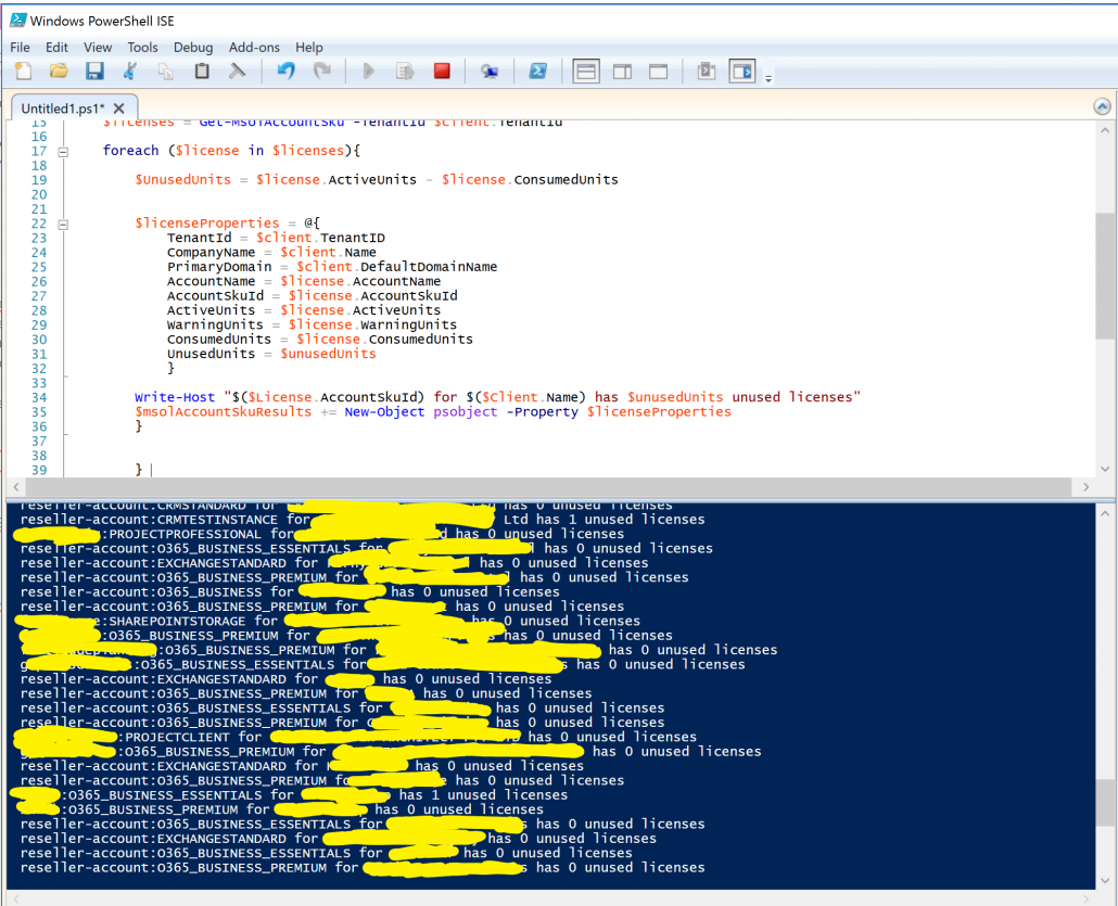 PowerShell Unused Office 365 Licenses In Delegated Administration Tenants Script