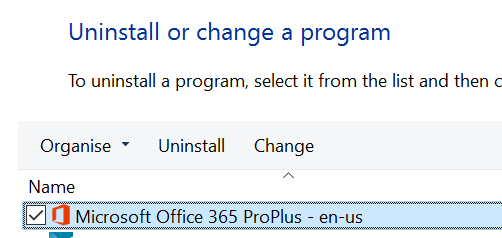 Repair Office In Programs And Features
