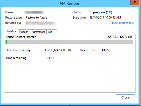 Restore To Azure Process