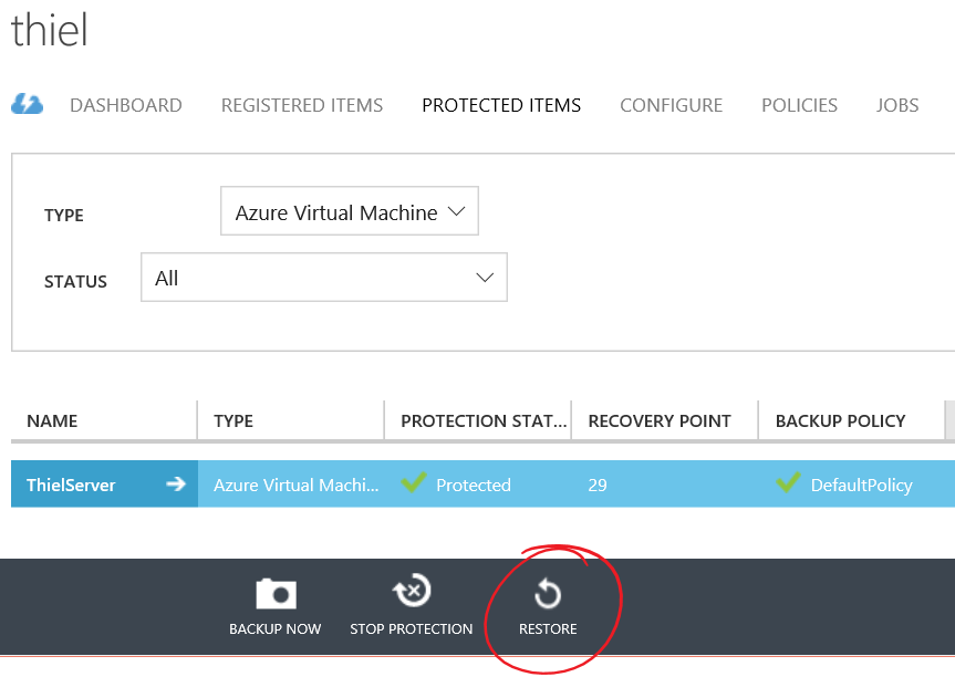 Restoring Azure Virtual Machine Under Azure Recovery Services