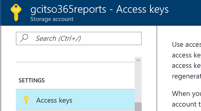 Retrieve Azure Storage Account Primary Key Via Azure Portal