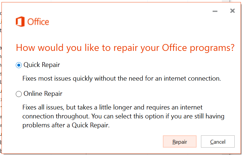 Run Quick Repair On Office