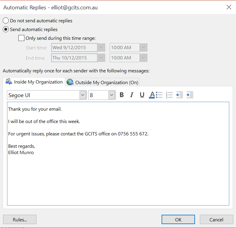 How to set up an out of office message in office 365 gcits - Set up out of office in outlook ...