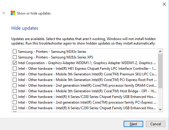 Select Windows Updates You Dont Want Installed