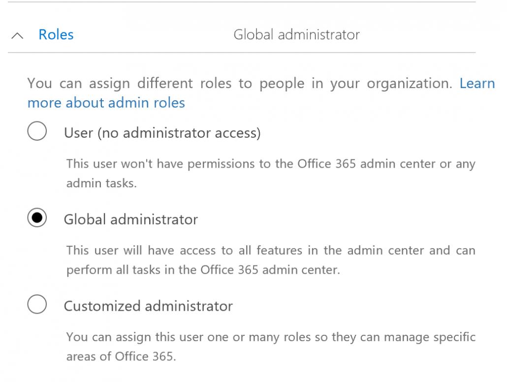 Set new admin as global administrator