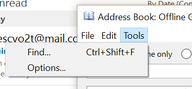 Tools Options In Address Book